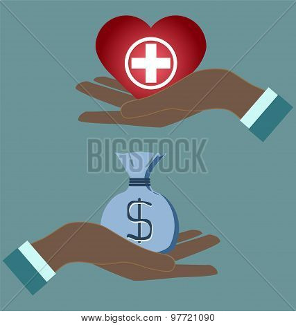 Health Care Icon, White Cross In Red Heart In Doctor Hans. Medical Concept