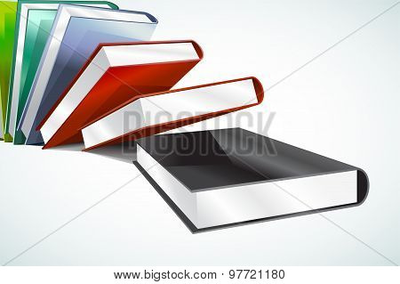 Book 3d vector illustration isolated on white. Back to school. Education, university, college symbol
