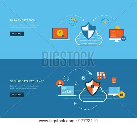 Set of flat design vector illustration concepts for data protection, data encryption and secure data