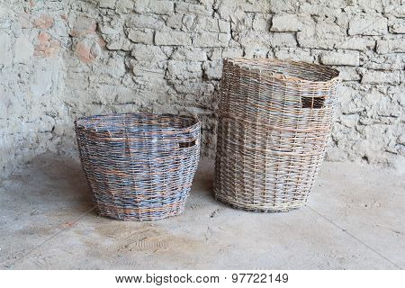 Two Wattled Baskets Of Bronze Century