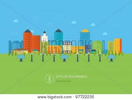Urban landscape. Flat design vector concept illustration with icons of ecology, environment, eco fri