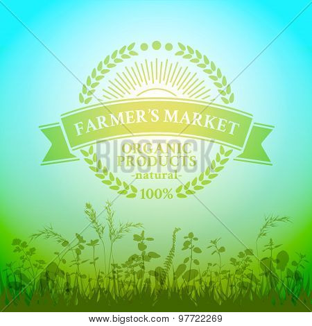 Green badge in retro style for farmers market
