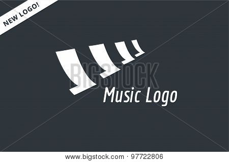 Abstract music piano keys logo icon. Melody, classic, note symbol or paper, book, song. Design eleme