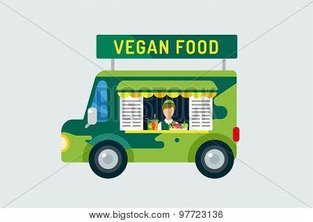 Vegan city food car icon. Nature product, vitamin symbol, auto restaurant, mobile kitchen, hot fastf