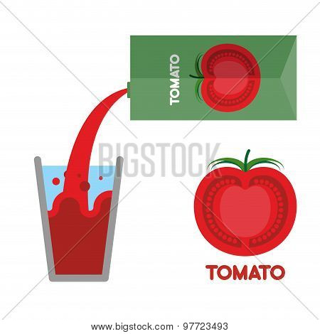 Tomato Juice. Pour Tomato Juice Into  Glass. Vector Illustration. Splash In A Glass.