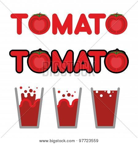 Tomato Juice. Set Of Cups And Mugs With Tomato Juice. Letters And Slice Of Tomato. Vector Illustrati