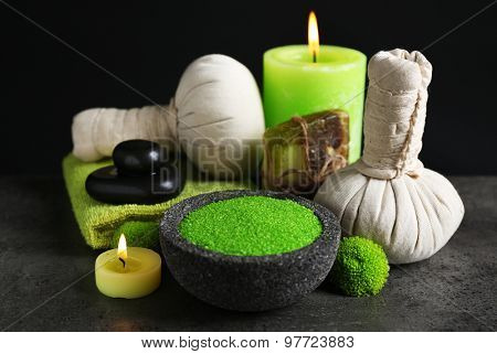 Beautiful composition of spa treatment on dark background
