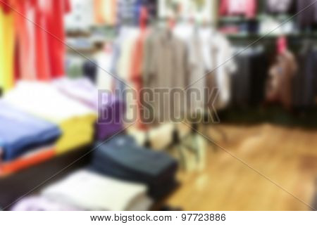 Abstract blur  Interior of clothing store