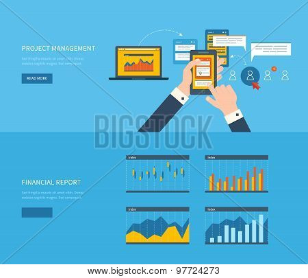 Flat design illustration concepts for business analysis, financial report, team work, consulting, pr