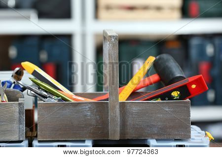 Set of tools in workshop