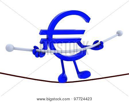 Symbol Euro Acrobat Who Walks On A Wire