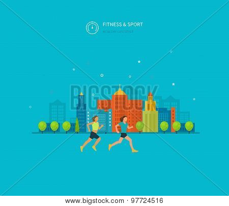 Modern flat vector icons of healthy lifestyle, fitness and physical activity.
