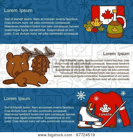 Vector travel north america concept with cartoon hand drawn objects on Canada theme: maple syrup, ho