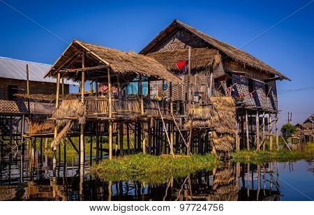 A House Above Water On Inle Lake, Myanmar (burma)