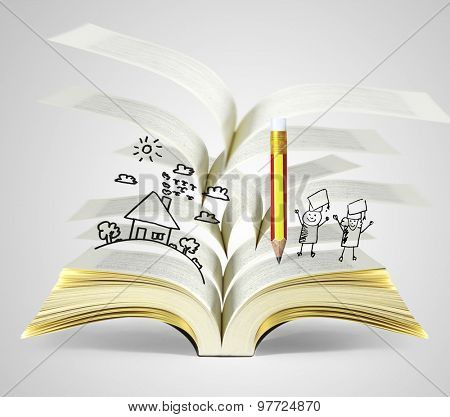 magical world of reading,open  magic book