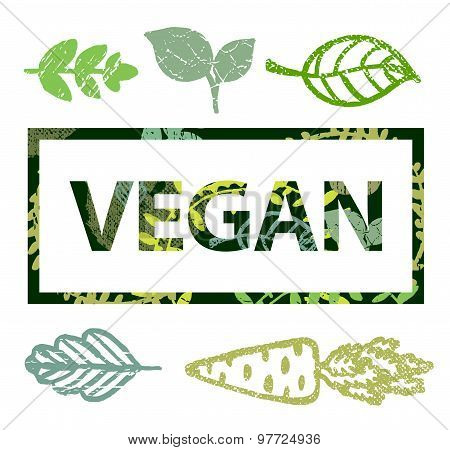 Vector vegan print stamp, t shirt with leaves icons