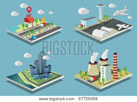 Set of Isometric vector illustrations City and industrial buildings.
