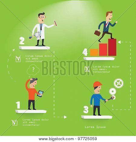 Business Start-up concept steps Idea. Vector Illustration