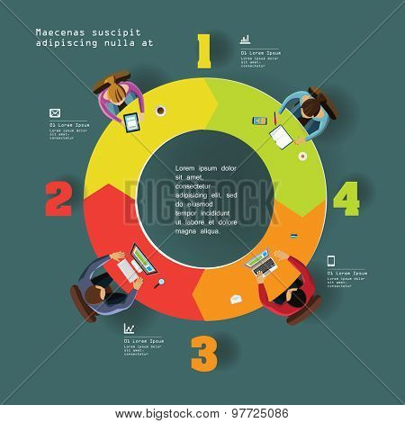 Infographics Element -  Top View on Arrows with People. Vector illustration.