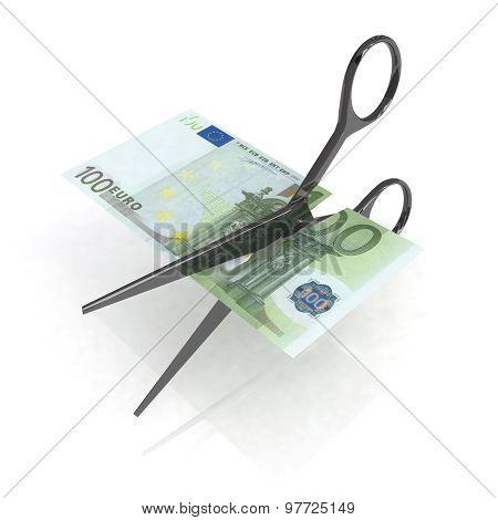 Scissors Cutting Euro Notes