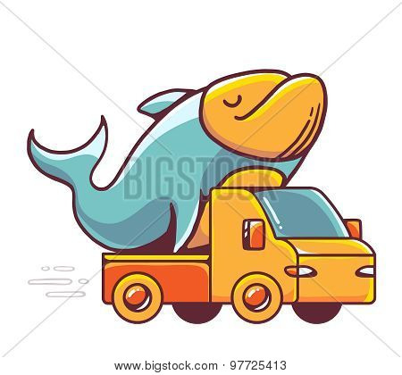 Vector Illustration Of Red Car Takes Great Blue Fresh Fish On White Background.