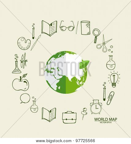 Modern globe with application icon, modern template design. Vector illustration.