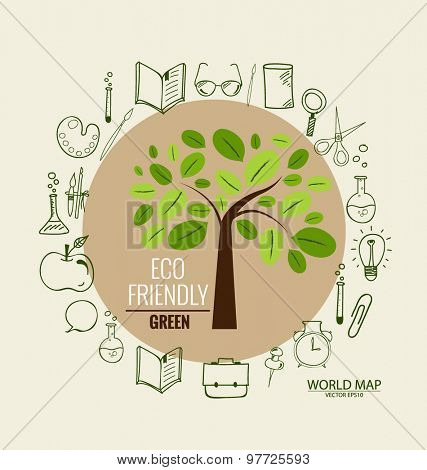 Tree with application icon, modern template design. Vector illustration.