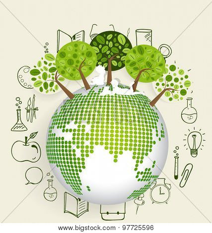Modern globe with trees and application icon, modern template design. Vector illustration.