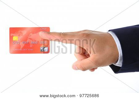 Hand holding credit card, isolated on white