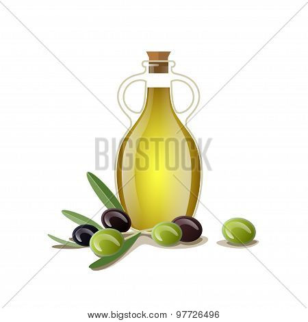 Bottle of oil with green and black olives