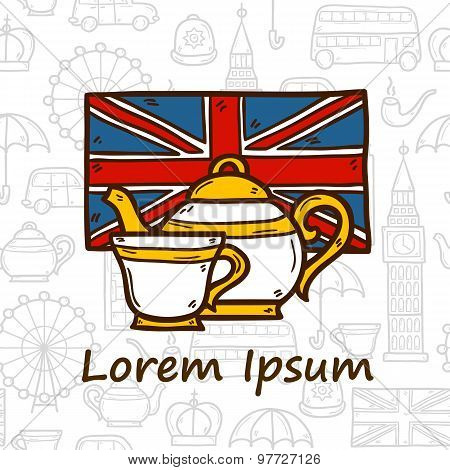 Vector travel concept on teatime or England theme with hand drawn cartoon objects and seamless backg