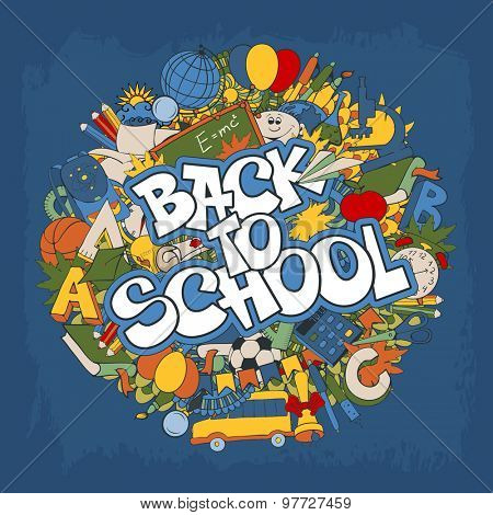 Back to school retro styled doodle creative design with stationery and other education elements on blue grunge background. Vector illustration.