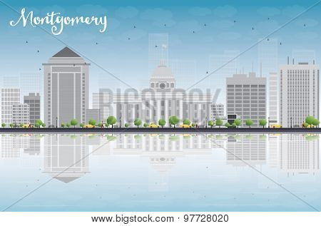 Montgomery Skyline with Grey Building, Blue Sky and reflections. Alabama. Vector Illustration