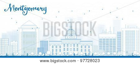 Outline Montgomery Skyline with Blue Buildings. Alabama. Vector Illustration