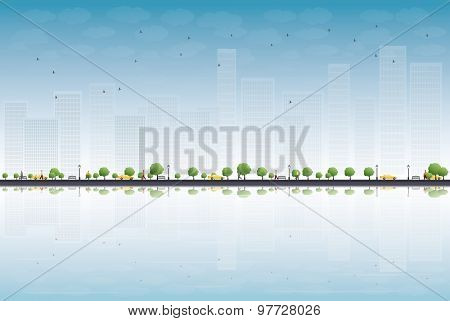 Colorful city panorama and place for text. Vector illustration