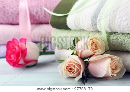 Stack of colorful towels close-up