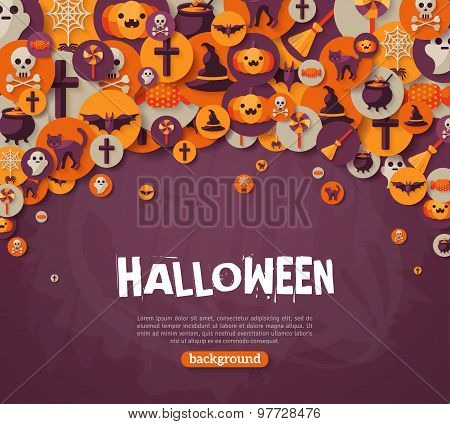 Halloween Background. Vector Illustration. Flat Halloween Icons