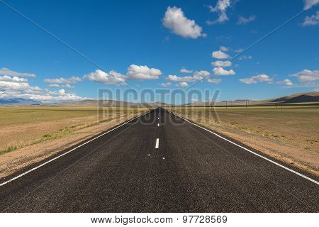 Road Steppe Mountains Asphalt
