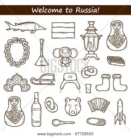 Set of hand drawn objects on Russia theme: balalaika, vodka, bear, ushanka, matrioshka, rocket. Trav