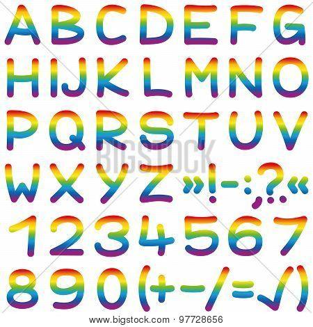 Font Rainbow Colors Alphabet Letters