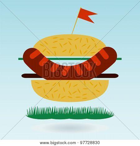 Hamburger Flat Icon, Grass Concept.