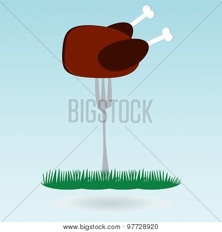 Barbecue. Grilled Chicken On Forks On The Background Of The Natural Landscape, Grass Concept