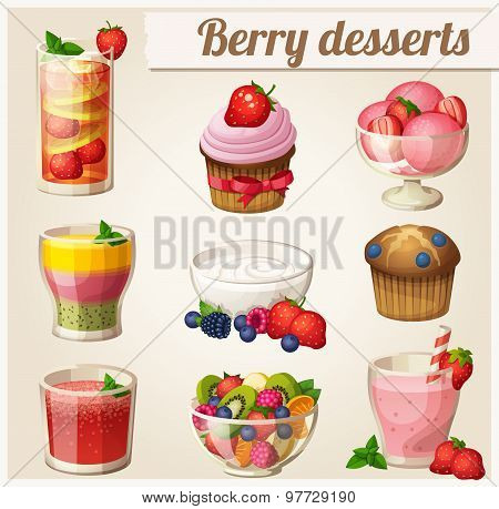 Set of food icons. Berry desserts