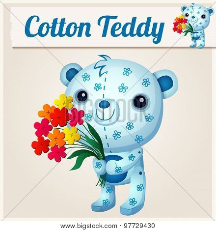 Blue cotton teddy bear. Cartoon vector illustration. Series of children's toys