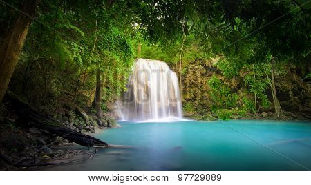 Waterfall in jungle rainforest