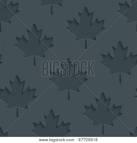 Dark gray maple leaves wallpaper. 3d seamless background. Vector EPS10.
