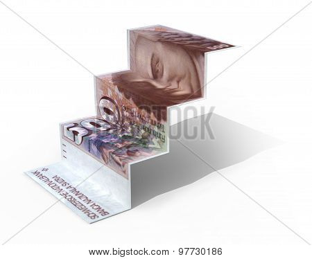 500 Swiss Franc Banknote Folded As Steps