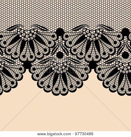 Black Flower Lace Border On Beige Background