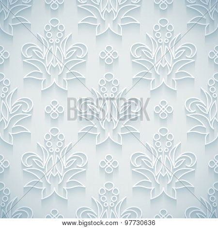 Embossed white seamless royal floral pattern