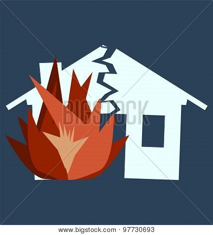 Fire Damage, Silhouette Of Broken House As Illustration Of Disaster, Crisis Or Divorce